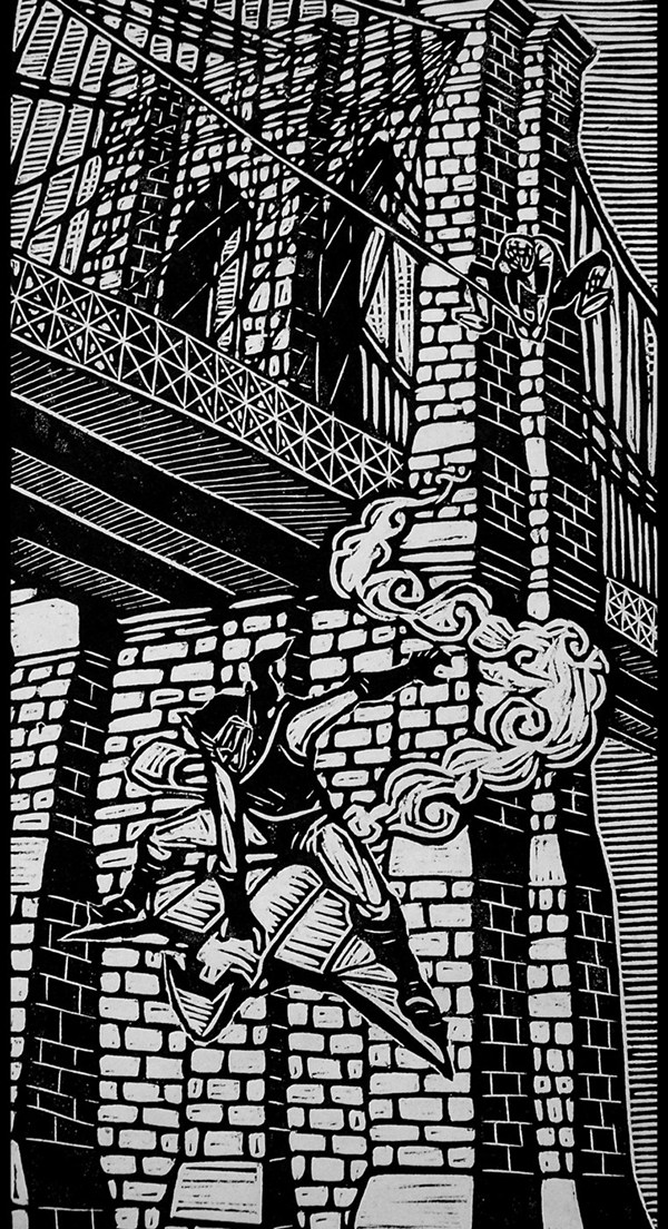 woodcut art by brian reedy spiderman