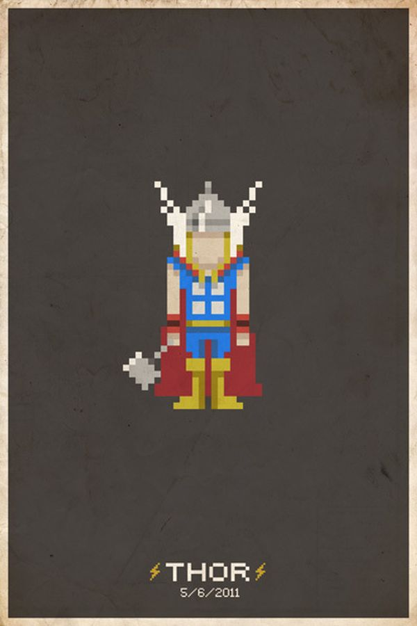 Comic Book Pixel Art Movie Character by Michael Myers Thor