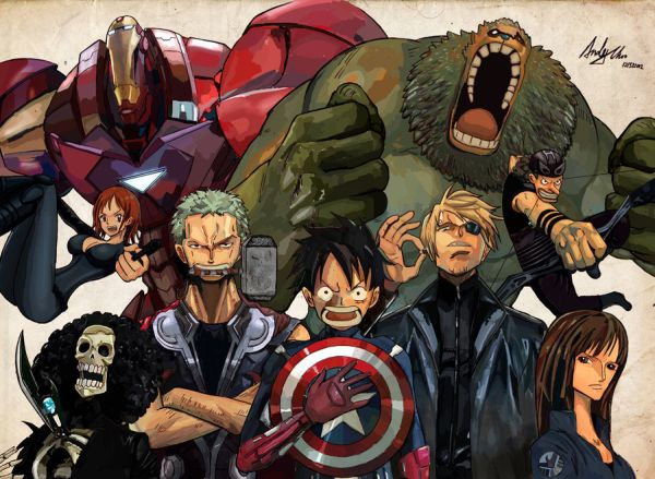 One Piece & Avengers Mashup by Andy Choo 01