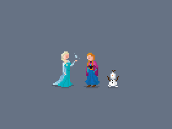Pixel Characters by Huang Kate Frozen