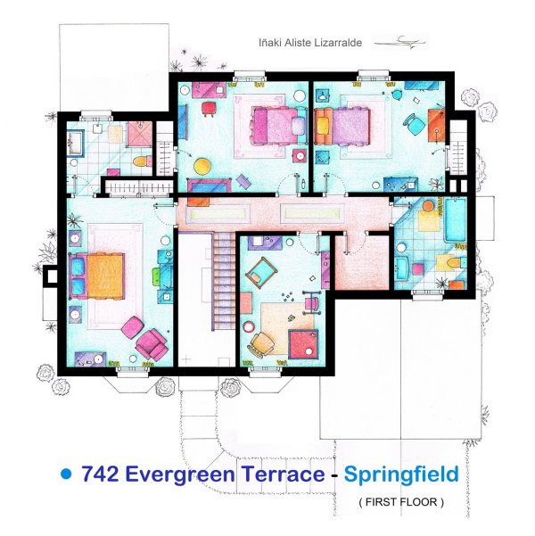 Floor Plans of Popular TV and Film Homes by Iñaki Aliste Lizarralde Simpsons First Floor