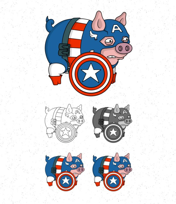Avengers Pigs by Roni Aguiar Captain America