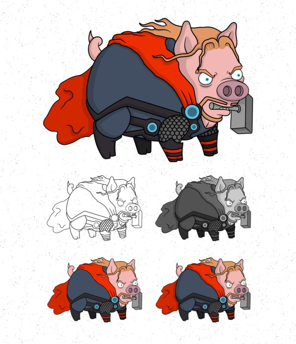 Avengers Pigs by Roni Aguiar Thor