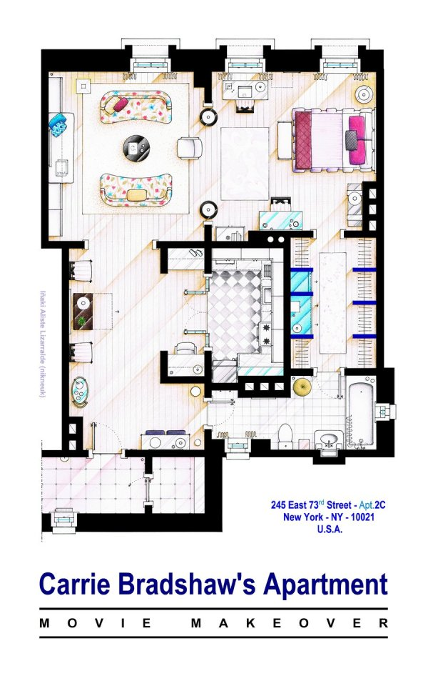 Floor Plans of Popular TV and Film Homes by Iñaki Aliste Lizarralde Sex and the City Carie Bradshaw