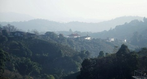 Blick auf Doi Mae Salong im Dunst