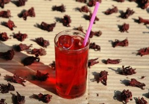 Hibiskus Eistee im Glas 2, mit Eiswürfeln und Strohhalm