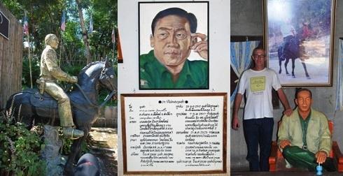 Portraits und Statuen von Khun Sa in Ban Hin Taek
