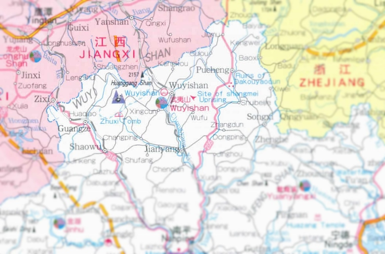 Karte von Fujian mit Fokus auf Wuyi Mountains