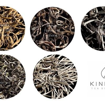 Kinnari Tees - Collage : Golden Flame, Honey Hill, White Moonlight, Plateau Green, Silver Cloud