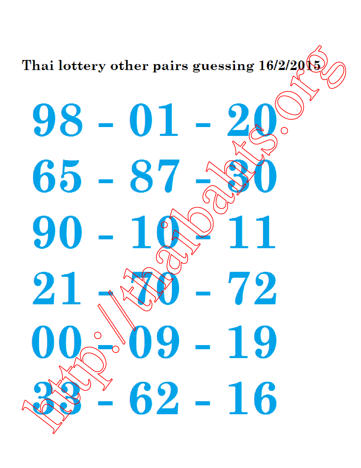 16.2.2015 Thai lottery guessing other pairs