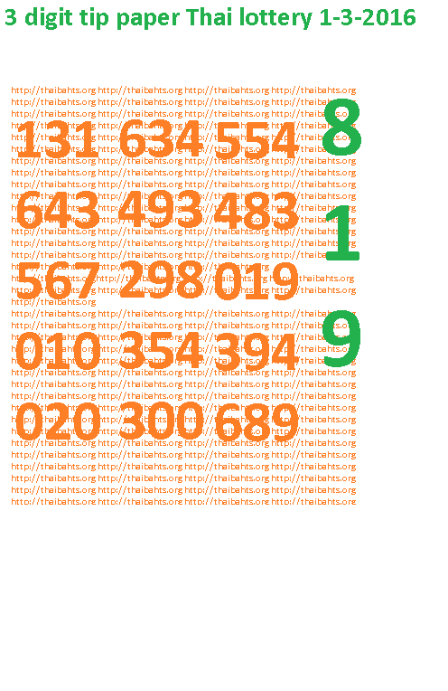 3 digit tip paper thai lottery 1-3-2016