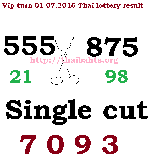 VIP turn 01.07.2016 Thai lottery results