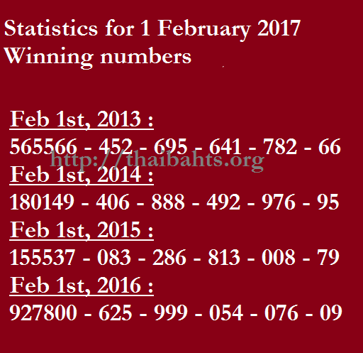 Statistics - winning numbers on 1 Feb