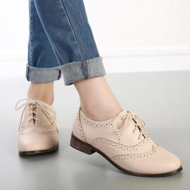 New-2015-Vintage-England-Style-Carved-Lace-Up-Oxford-Shoes-For-Women-Fashion-Round-Toe-Women
