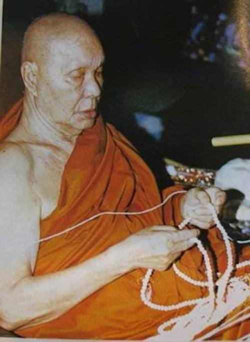 Luang Por Uttama Praying and Meditating with Rosary