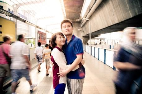 Bangkok, Thailand - Engagement photo of a couple from China at a busy street in Bangkok.