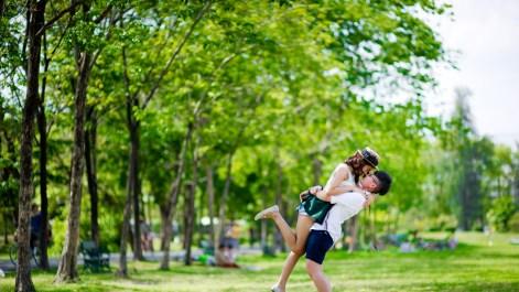 Pre-Wedding photo shoot of a lesbian couple at a park in Bangkok, Thailand.