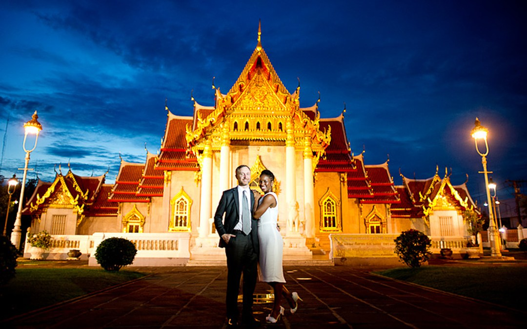 Bangkok Thailand Engagement Session (Pre-Wedding): Rama IX Park + Marble Temple + Rama VIII Bridge