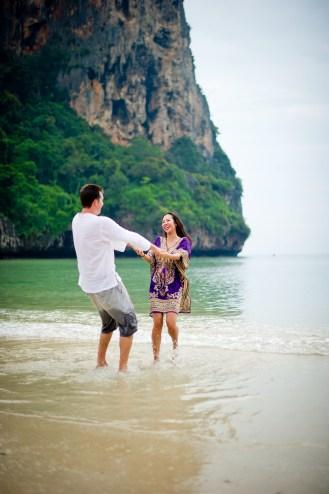 Tarinee and Dyson's Railay Beach pre-wedding (prenuptial, engagement session) in Krabi, Thailand. Railay Beach_Krabi_wedding_photographer_Tarinee and Dyson_1876.TIF
