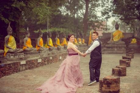 Yoko and Tor's Wat Yai Chai Mongkhon pre-wedding (prenuptial, engagement session) in Ayutthaya, Thailand. Wat Yai Chai Mongkhon_Ayutthaya_wedding_photographer_Yoko and Tor_0327.TIF