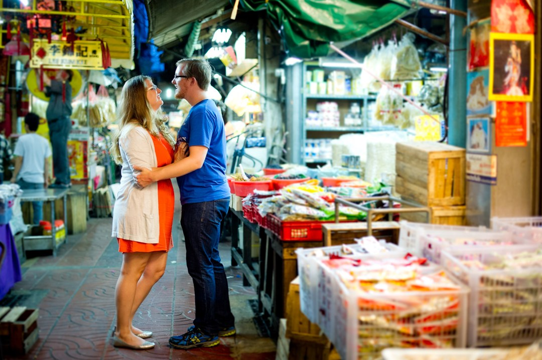 Candace and Nick's China Town pre-wedding (prenuptial, engagement session) in Bangkok, Thailand.