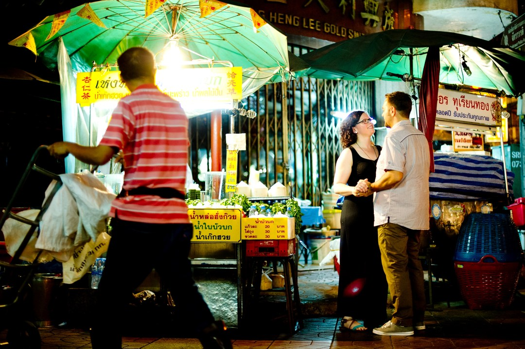 Nina and Michael's China Town pre-wedding (prenuptial, engagement session) in Bangkok, Thailand.