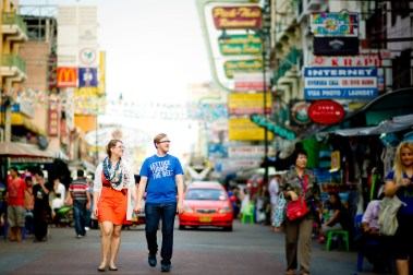 Candace and Nick's Khaosan Road pre-wedding (prenuptial, engagement session) in Bangkok, Thailand. Khaosan Road_Bangkok_wedding_photographer_Candace and Nick_1.TIF