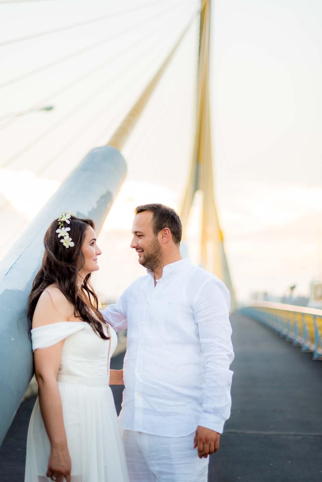 Pre-Wedding Rama VIII Suspension Bridge in Bangkok Thailand | Bangkok Wedding Photography