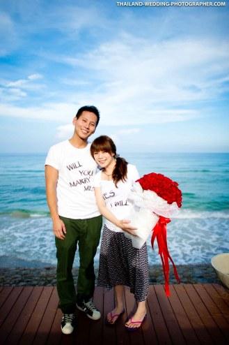 Marriage proposal and pre-wedding session at Let's Sea Hua Hin Al Fresco Resort in Hua Hin, Thailand.