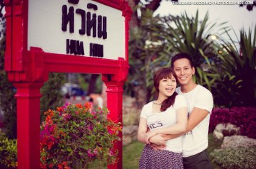 Marriage proposal and pre-wedding session at Hua Hin Railway Station (Hua Hin Train Station) in Hua Hin, Thailand.