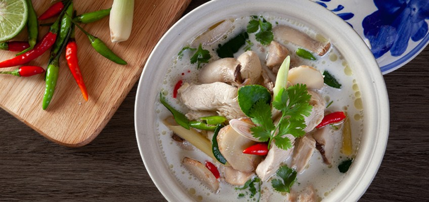 Tom Kha Gai or Chicken in Coconut Soup