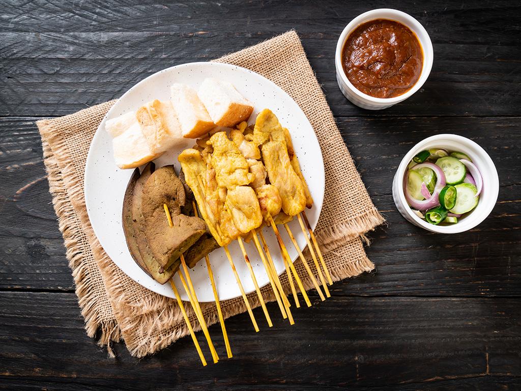 Moo Sa-Te or Grilled Pork Sticks with Turmeric