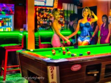Crazy Bar pool table and girls Kamala Thailand