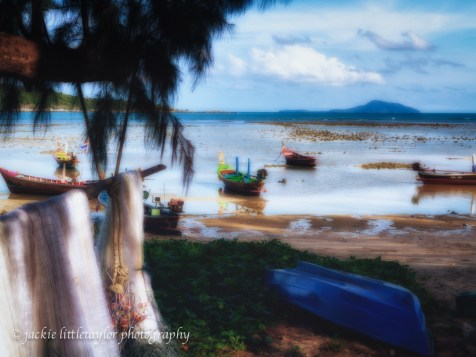 fishing village longtail boats fish nets low tide soft glow impr