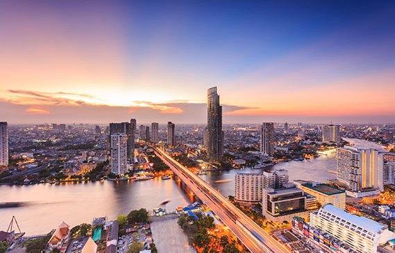 Bangkok river view at sunset.