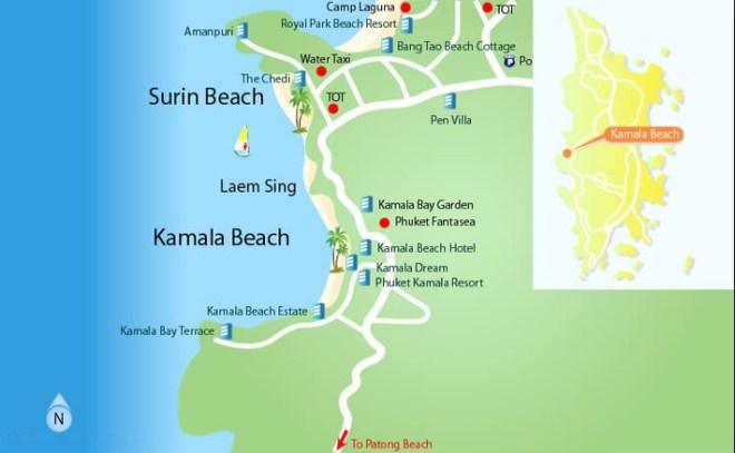 пляж сурин на карте