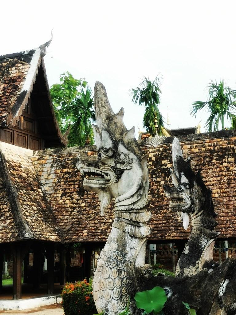 Snake/dragon guardians at Wat Intharawat in Hang Dong