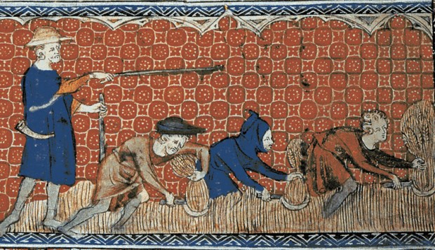 Miniature of men harvesting wheat with reaping-hooks, on a calendar page for August. Queen Mary's Psalter (Ms. Royal 2. B. VII)