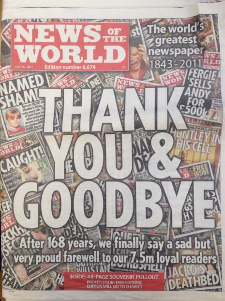 หน้าแรกหนังสือพิมพ์ News Of The World ฉบับสุดท้าย