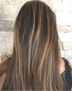 brunette hair color with highlights balayage by Melanie White master hair stylist