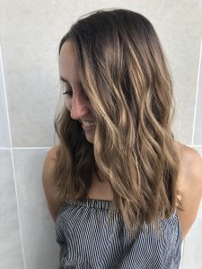 Hair color and haircut by hair stylist Karli Moran