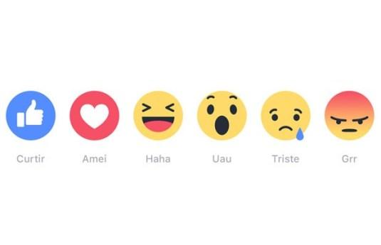 """Reações, os novos botões de emoji do facebook alternativos ao """"curtir"""""""
