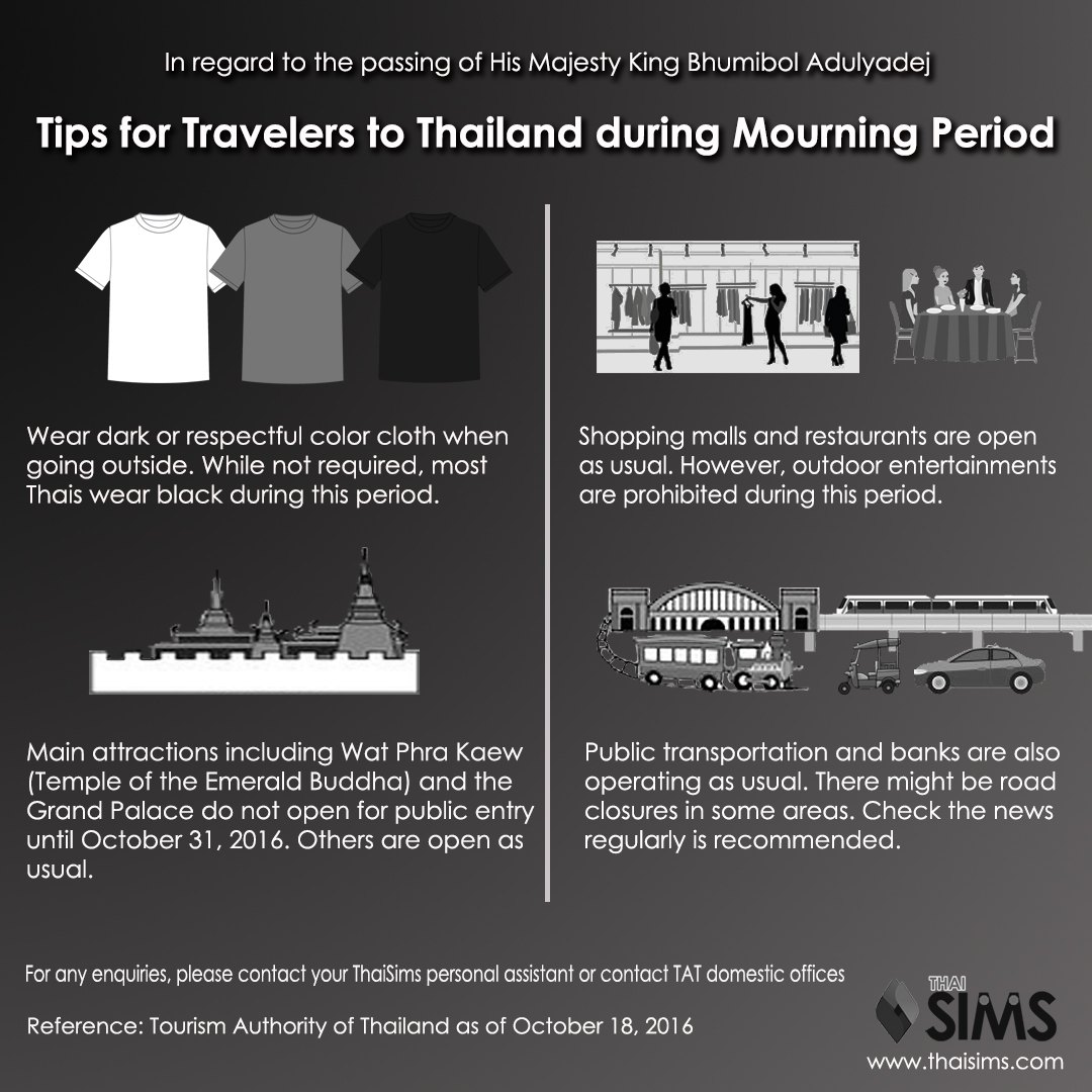ThaiSims Pocket WiFi Rental Infographic Tips Advice for travelers to Thailand during King Mourning Period