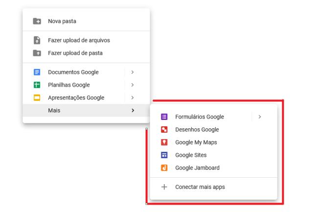 Imagem das demais opções de criação de arquivo no Google Drive