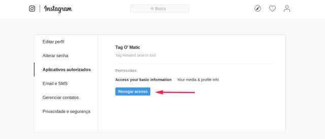 Imagem indicando o Clique no botão de revogar as permissões de terceiros