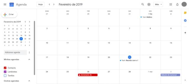 Imagem do Layout do Google Agendas configurado para exibição: mês.