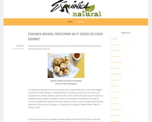 Blog do restaurante Esquinica Natural