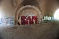 Bam! Graffiti underneath the bridge.