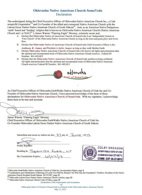 Oklevueha Native American Church of SomaVeda Declaration of Charter