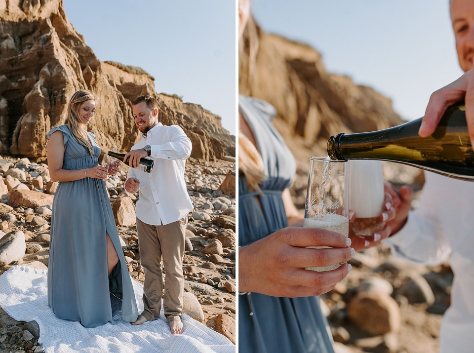 Man pouring Champaign and woman holding Champaign glasses